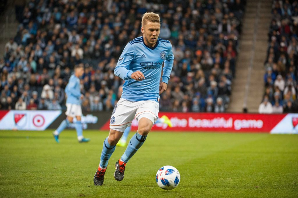 Mar 4, 2018; Kansas City, KS, USA; New York City FC defender Anton Tinnerholm (3) moves the ball during the first half against Sporing Kansas City at Children's Mercy Park. Mandatory Credit: Amy Kontras-USA TODAY Sports