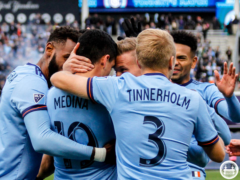 NYCFC celebrate with Jesus Medina who scores the first goal against FC Dallas. Photo credit: OhCitySaidi