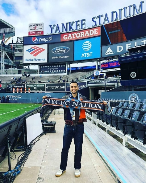 @NYCFCFan (ChirsP) Rocking the Nation scarf in Yankee Stadium