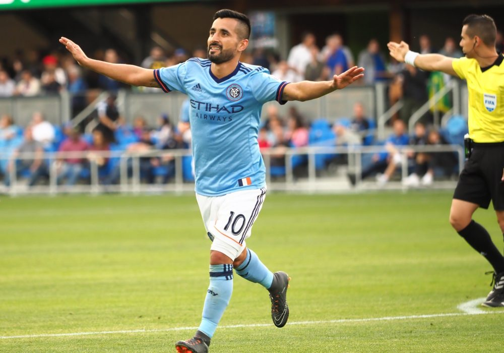 Mar 31, 2018; San Jose, CA, USA; New York City FC midfielder Maximiliano Moralez (10) celebrates after scoring a goal against the San Jose Earthquakes during the second half at Avaya Stadium. Mandatory Credit: Kelley L Cox-USA TODAY Sports