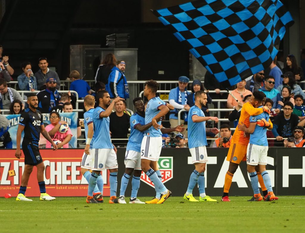 Mar 31, 2018; San Jose, CA, USA; New York City FC players celebrate after the win against the San Jose Earthquakes at Avaya Stadium. Mandatory Credit: Kelley L Cox-USA TODAY Sports