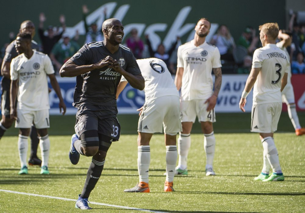 Apr 22, 2018; Portland, OR, USA; Portland Timbers defender Larrys Mabiala (33) celebrates after scoring a goal during the second half against New York City at Providence Park. The Timbers won 3-0. Mandatory Credit: Troy Wayrynen-USA TODAY Sports