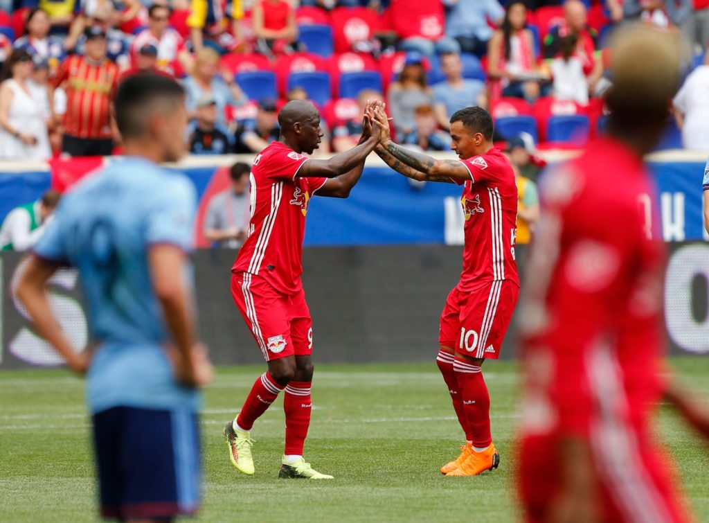 May 5, 2018; Harrison, NJ, USA; New York Red Bulls forward Bradley Wright-Phillips (99) and New York Red Bulls midfielder Alejandro Romero Gamarra (10) celebrate after a goal against New York City during first half at Red Bull Arena. Mandatory Credit: Noah K. Murray-USA TODAY Sports
