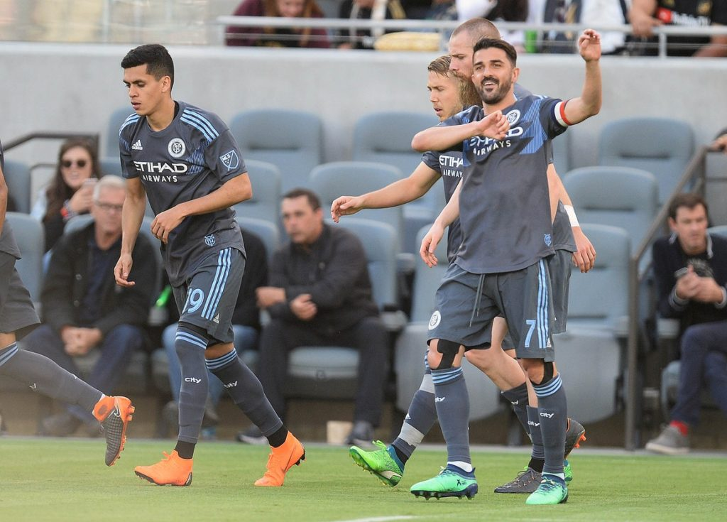 May 13, 2018; Los Angeles, CA, Los Angeles, CA, USA; New York City FC forward David Villa (7) celebrates his goal scored against Los Angeles FC during the first half at Banc of California Stadium. Mandatory Credit: Gary A. Vasquez-USA TODAY Sports