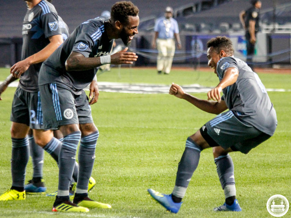 Jonathan Lewis celebrating after scoring his goal against Montreal Impact