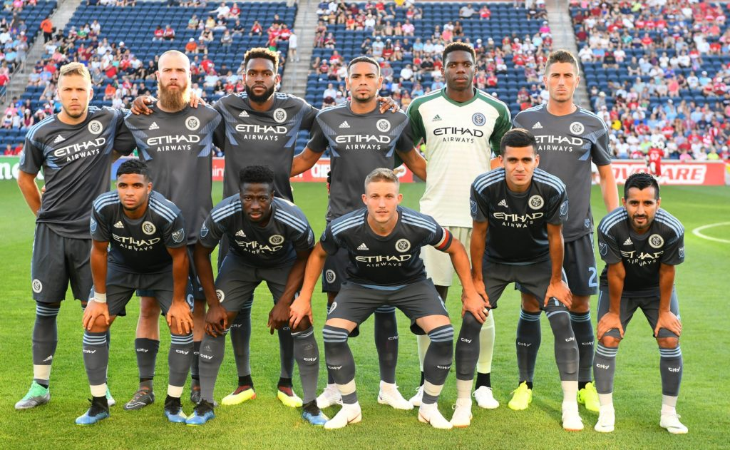 Jun 30, 2018; Chicago, IL, USA; The starting eleven for New York City FC pose for a photo before the game against the Chicago Fire at Bridgeview Stadium. Mandatory Credit: Mike DiNovo-USA TODAY Sports