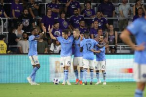 Jul 26, 2018; Orlando, FL, USA; New York City FC defender Anton Tinnerholm (3) celebrates with teammates as he scores a goal against the Orlando City SC during the first half at Orlando City Stadium. Mandatory Credit: Kim Klement-USA TODAY Sports
