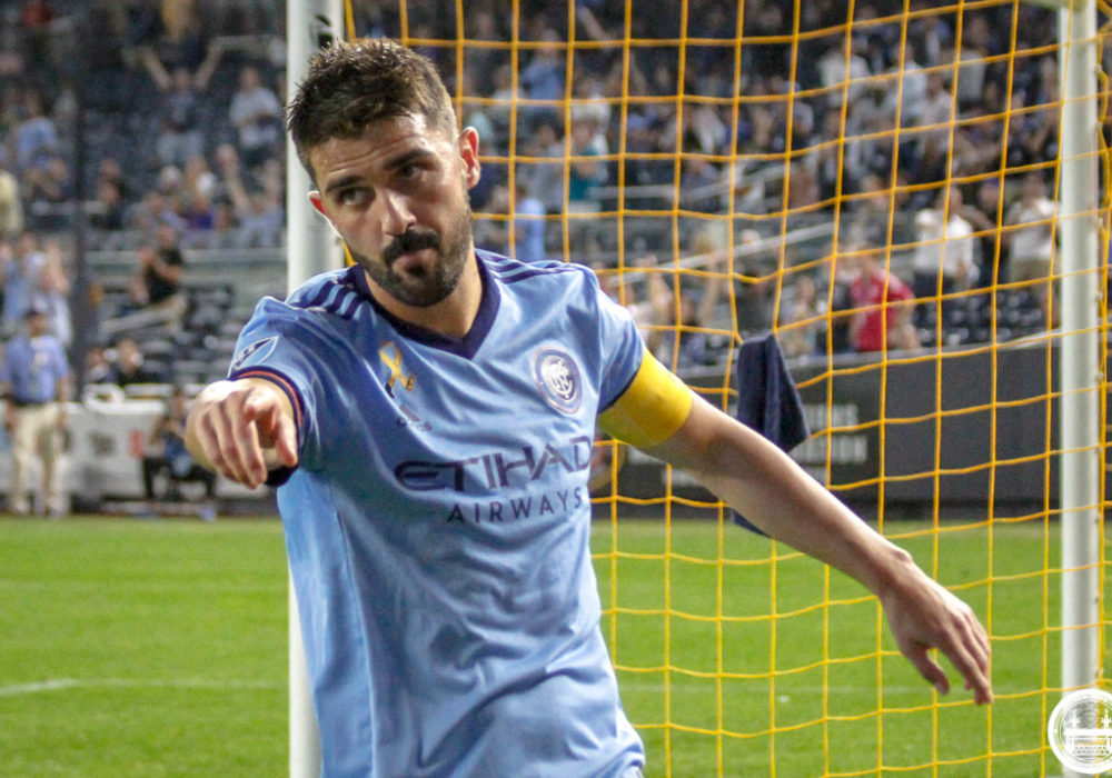 David Villa points after scoring a goal against the Chicago Fire. Photo Credit: OhCitySaidi