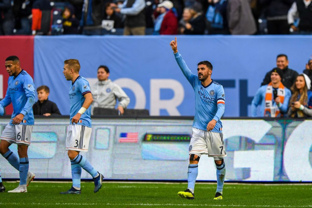 Oct 28, 2018; New York, NY, USA; New York City forward David Villa (7) celebrates his goal against the Philadelphia Union during the first half at Yankee Stadium. Mandatory Credit: Dennis Schneidler-USA TODAY Sports