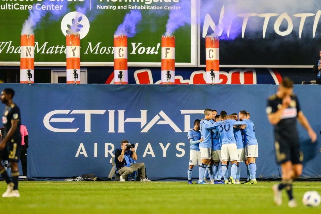 Oct 31, 2018; Bronx, NY, USA; New York City midfielder Maximiliano Moralez (10) celebrates his goal during the second half against the Philadelphia Union at Yankee Stadium. Mandatory Credit: Vincent Carchietta-USA TODAY Sports