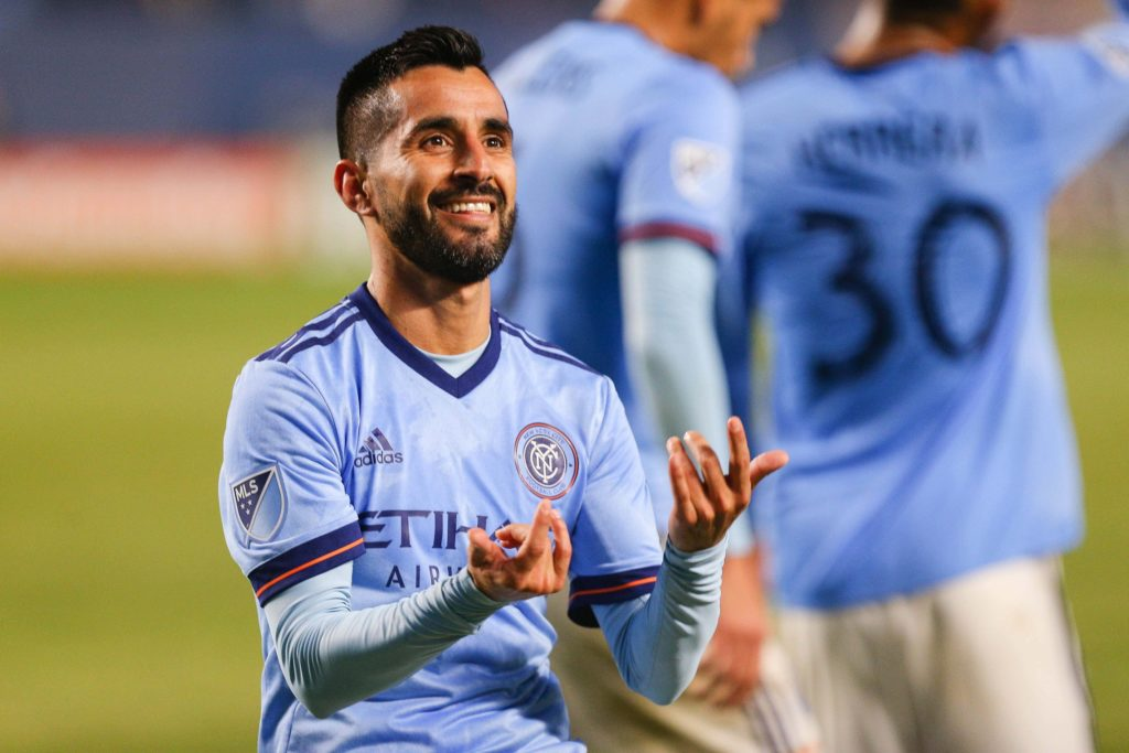 Oct 31, 2018; Bronx, NY, USA; New York City midfielder Maximiliano Moralez (10) celebrates after his goal against the Philadelphia Union during the second half at Yankee Stadium. Mandatory Credit: Vincent Carchietta-USA TODAY Sports