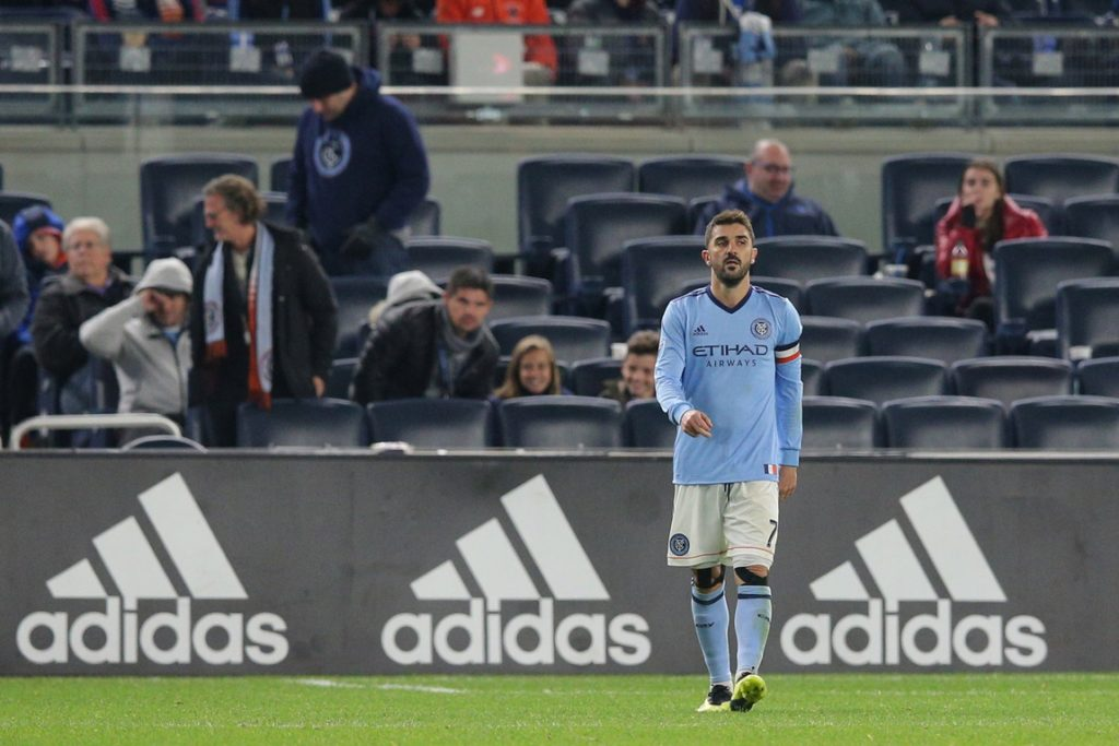 Nov 4, 2018; New York, NY, USA; New York City FC forward David Villa (7) reacts during the second half against Atlanta United at Yankee Stadium. Mandatory Credit: Brad Penner-USA TODAY Sports