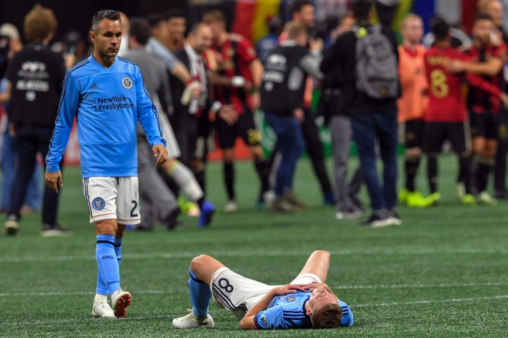 Nov 11, 2018; Atlanta, GA, USA; New York City midfielder Alexander Ring (8) reacts on the field after being defeated by the Atlanta United in the Eastern Conference semifinal at Mercedes-Benz Stadium. Mandatory Credit: Dale Zanine-USA TODAY Sports