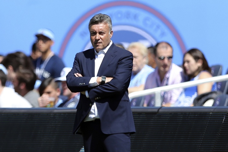 Apr 6, 2019; New York, NY, USA; New York City FC head coach Domenec Torrent coaches against the Montreal Impact during the first half at Yankee Stadium. Mandatory Credit: Brad Penner-USA TODAY Sports