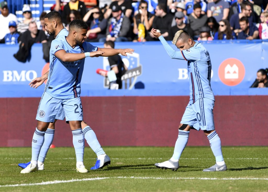 May 4, 2019; Montreal, Quebec, CAN; New York City FC midfielder Maximiliano Moralez (10) reacts with teammate Ismael Tajouri-Shradi (29) after scoring a goal against the Montreal Impact during the first half at Stade Saputo. Mandatory Credit: Eric Bolte-USA TODAY Sports