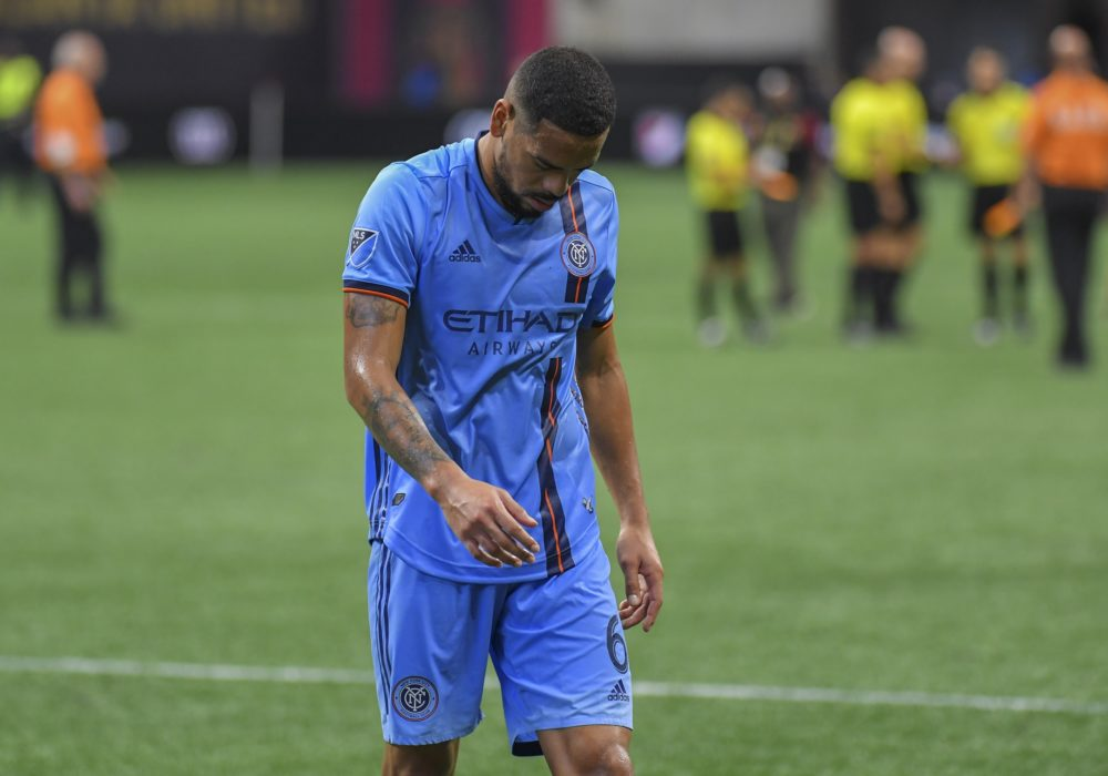 Aug 11, 2019; Atlanta, GA, USA; New York City FC defender Alexander Callens (6) walks off the field after a match against Atlanta United at Mercedes-Benz Stadium. Mandatory Credit: Dale Zanine-USA TODAY Sports