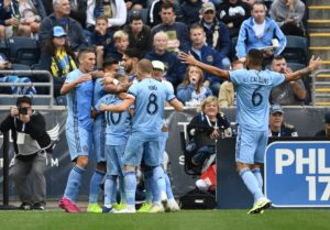 Oct 6, 2019; Philadelphia, PA, USA; New York City FC celebrate the goal by defender Ronald Matarrita (22) in the firs that against the Philadelphia Union at Talen Energy Stadium. Mandatory Credit: James Lang-USA TODAY Sports
