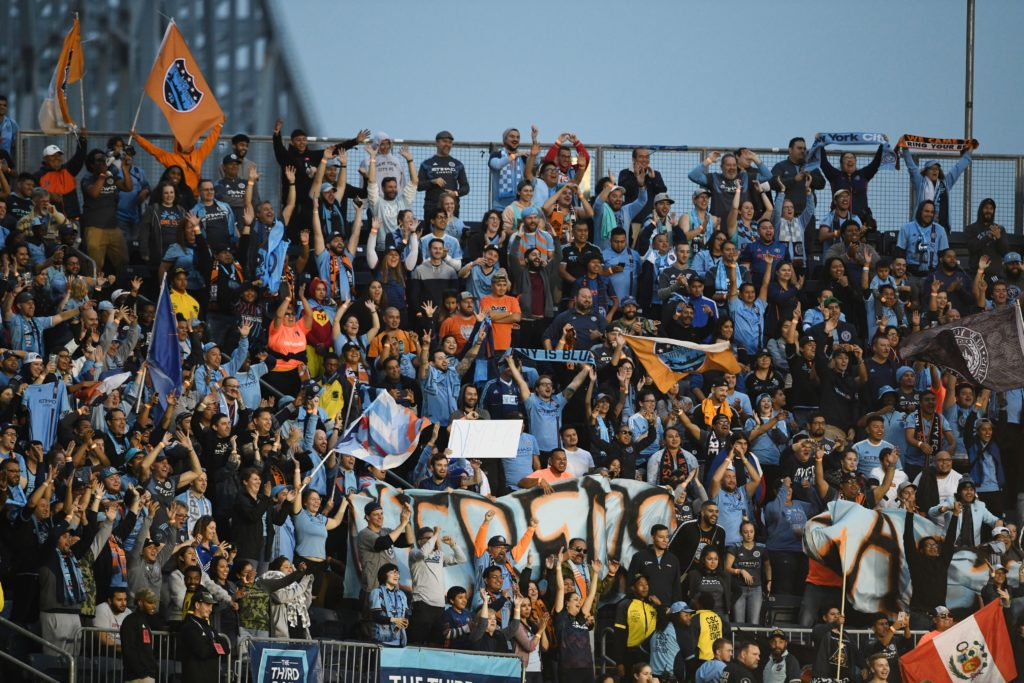 Oct 6, 2019; Philadelphia, PA, USA; New York City FC fans celebrate after defeating the Philadelphia Union 2-1 at Talen Energy Stadium. Mandatory Credit: James Lang-USA TODAY Sports