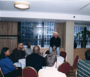 Marty Edelman speaking to alumni of the Jackie Robinson Foundation. Photo Credit to NYCFC